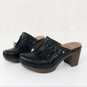 Dansko Deni Black Leather Fringe Clog Size 39